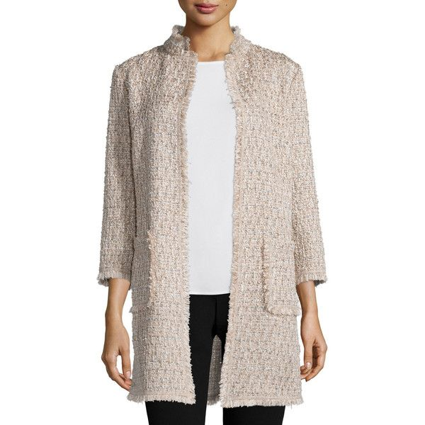 Neiman Marcus Open-Front Boucle Topper Jacket (1.350 BRL) ❤ liked on Polyvore featuring outerwear, jackets, tan, stand up collar jacket, neiman marcus jackets, boucle jacket, straight jacket and slim jacket