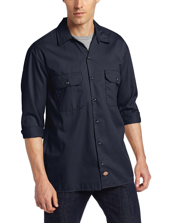 fa4712a1a2 Amazon.com  Dickies Men s Long-Sleeve Work Shirt  Button Down Shirts   Clothing