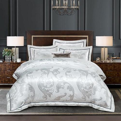 2019 New Luxury Silk Jacquard Duvet Cover Set 4 6pcs Queen King Size Bedding Set Ultra Soft Cotton Be King Size Bedding Sets White Bed Set Luxury White Bedding