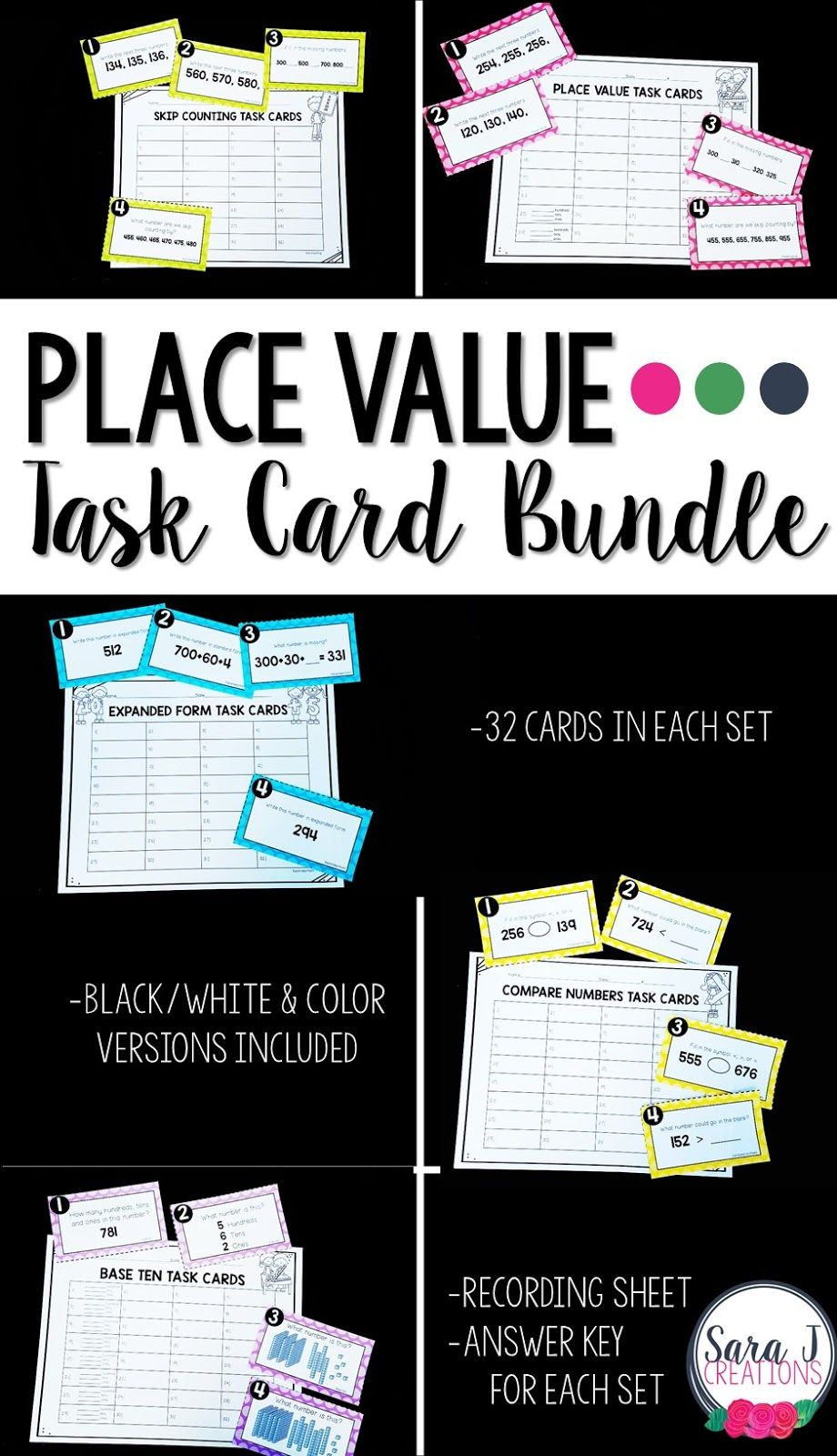 Place Value Task Card Bundle - A great place value activity for second grade.