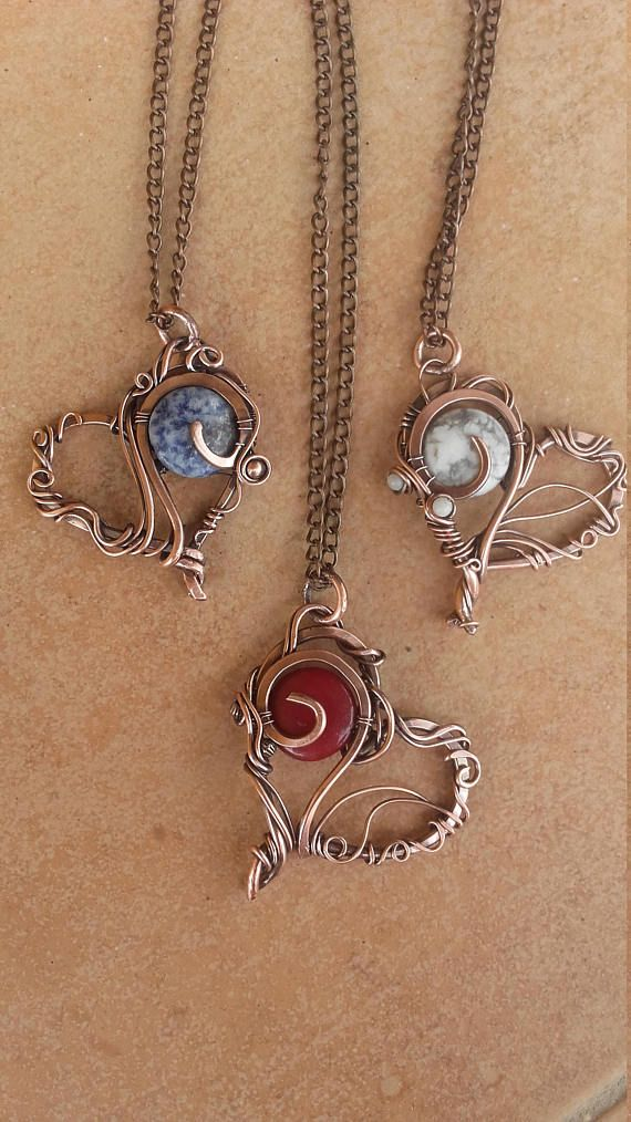 Copper wire heart pendant with natural gems on long copper | WIRE ...