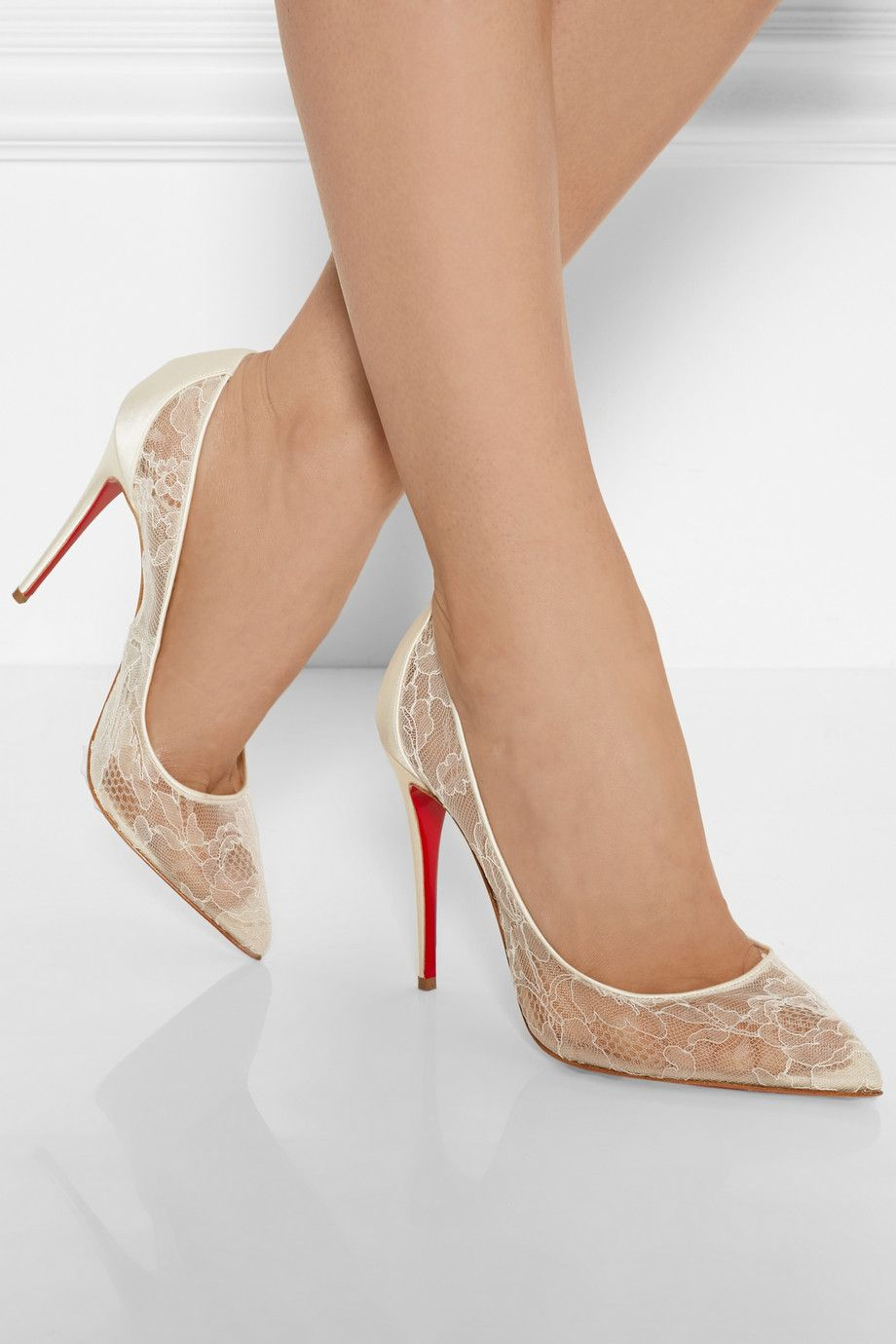 Christian Louboutin Follies 100 Lace And Satin Pumps Net A