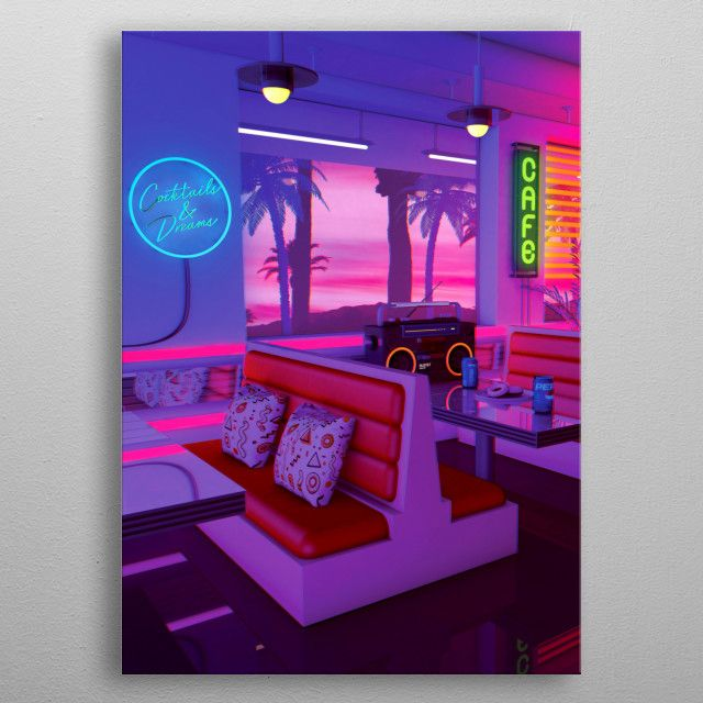 Cocktails And Dreams Retro Poster Print