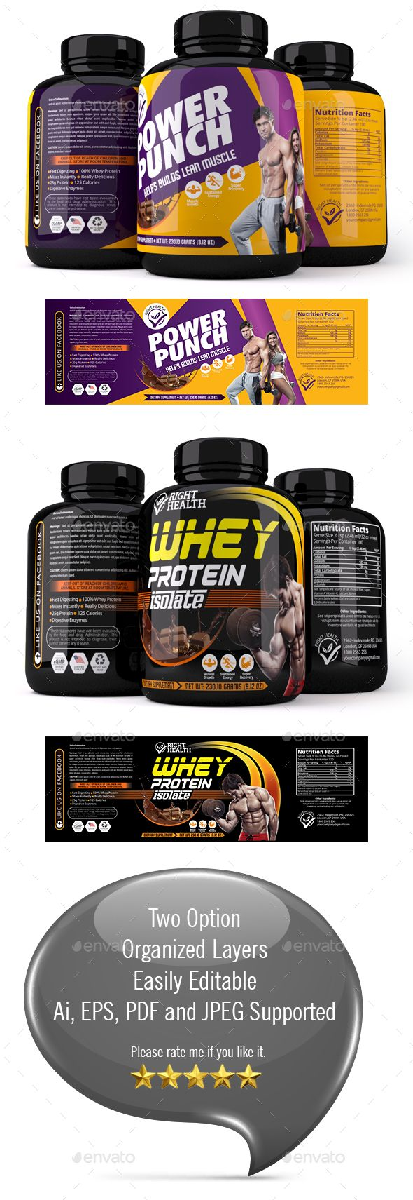 Hi This Is Supplement Label Template Features Two Templates Easy Customizable And Editable CMYK Color Design In 300 DPI Resolut