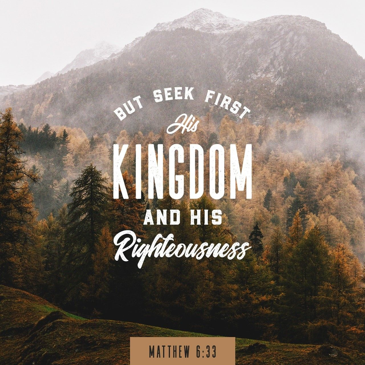 But Seek First His Kingdom And His Righteousness Matthew 6 33