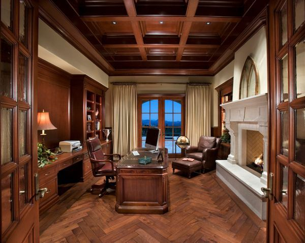 large office with fireplace elegant high ceilings and an earthy color palette home office designoffice