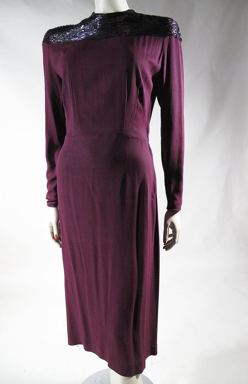 1940\'s Beaded Claret Red Crepe Cocktail Dress | Vintage and Antique ...