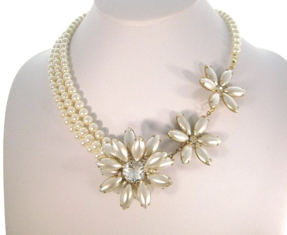 Floating Flowers  Swarovski Pearl and Crystal by zoeJaneJewels1, $85.00