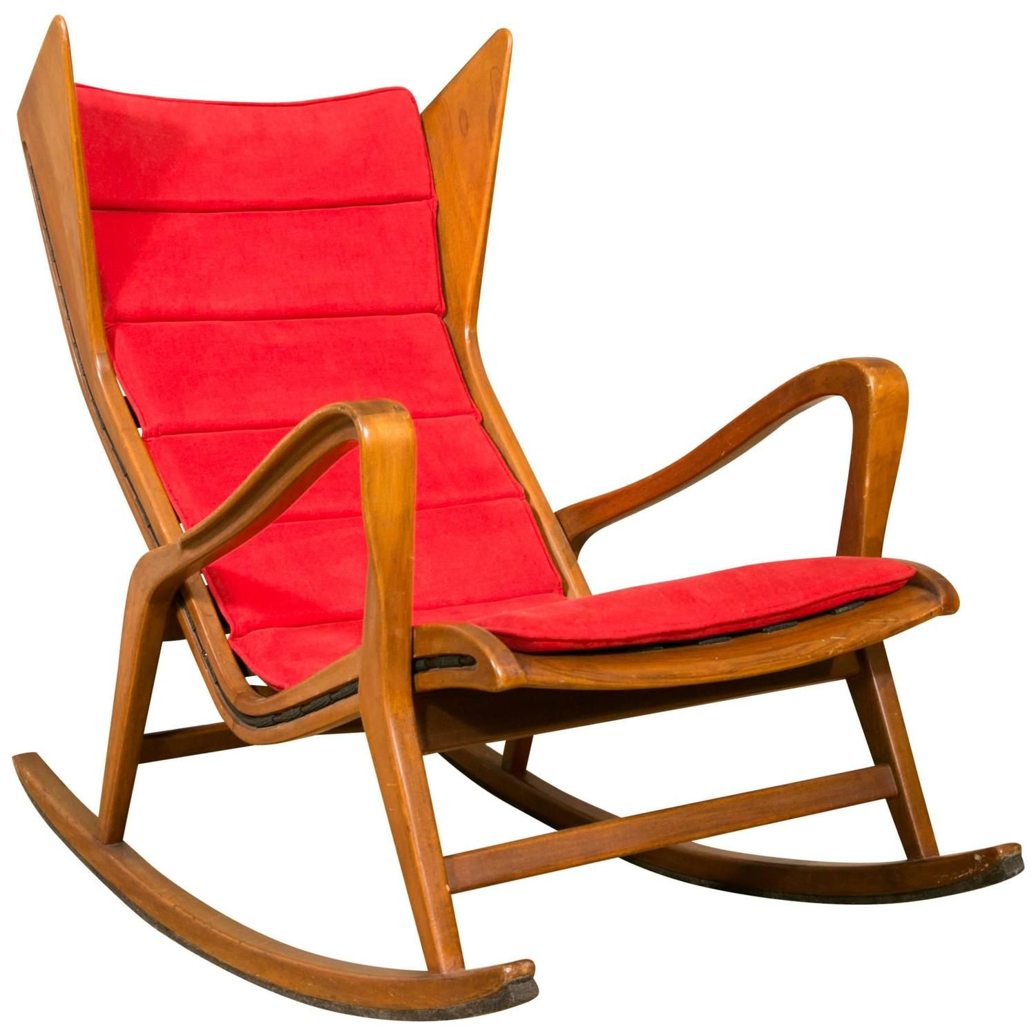 Rocking Chair In Walnut Designed By Gio Ponti For Cassina Circa