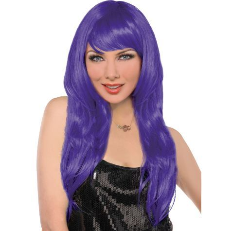 Glam Purple Wig Party City Red Wigs Wig Party Purple Wig