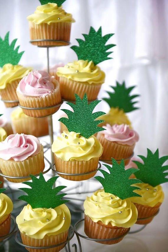 Pineapple Cupcake Toppers Luau Tutti Frutti First