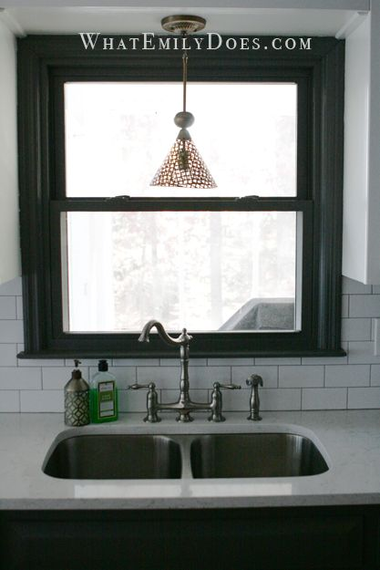 Love The Dark Trim Around The Window With The Subway Tile Black Window Trims House Interior Home