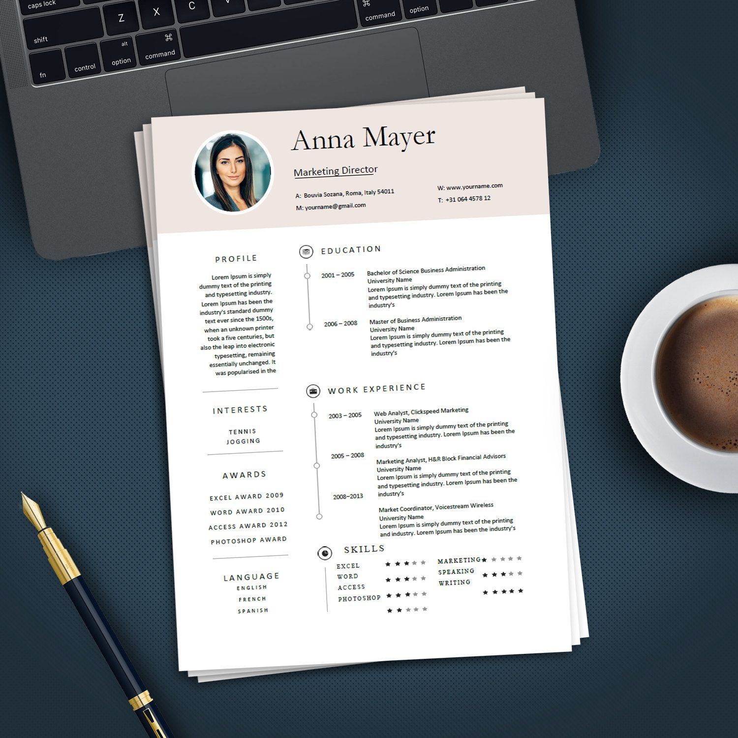 Professional Creative Resume Template For Ms Word Modern  Resumes