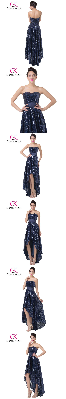 Grace karin sequined prom dress short front long back sweetheart