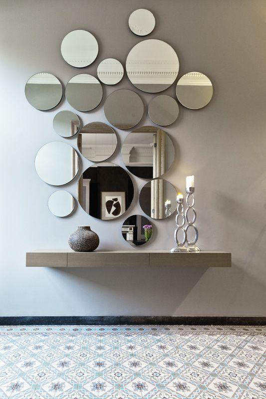 07 A Circle Wall Mirror Arrangement Looks Cool And Modern Such An