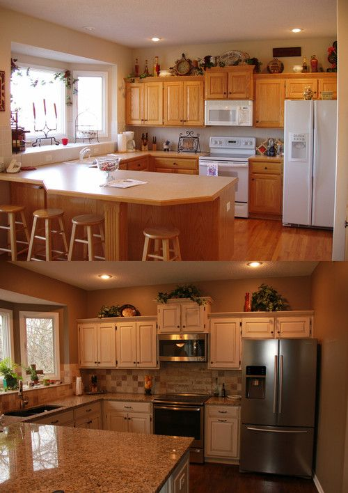 Kitchen Refinish Golden Oak To Java Creme From Cabinets