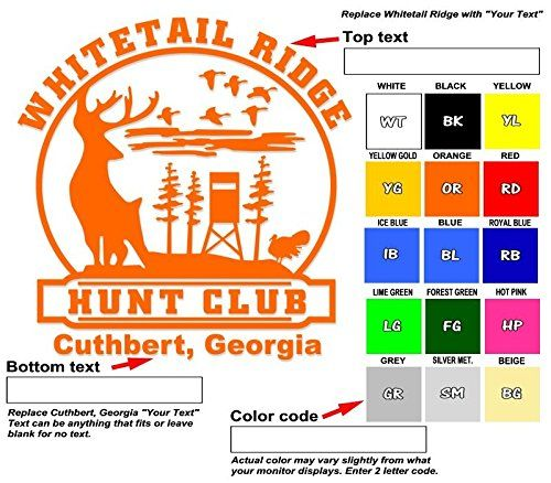 Amazoncom Custom Hunting Club Vinyl Decal Your Text And Color - Custom vinyl decal text