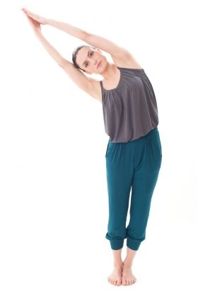 Bamboo Strappy Top In Ash Grey And Seaweed Harem Pants Yoga And