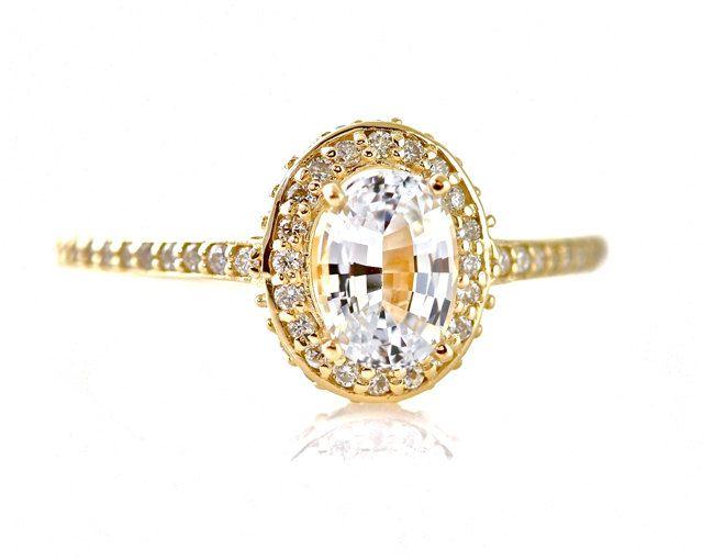 14K White Sapphire Engagement Ring Oval Diamond Halo Setting 14K 18K White Yellow Rose Gold Platinum Palladium. $1,305.00, via Etsy.