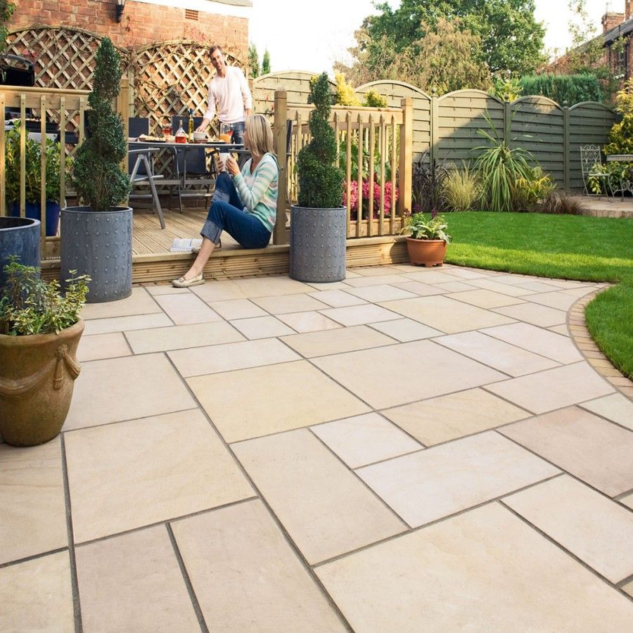 sunset buff indian sandstone with a much nicer grey mortar gravel - Patio Slab Ideas