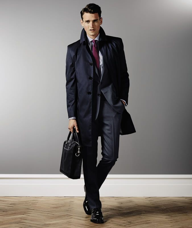 Men's Charles Tyrwhitt Navy Trench Coat   Cool Fashion Men´s Wear ...