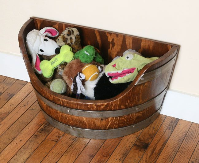 Dog Toy Box Wine Barrel