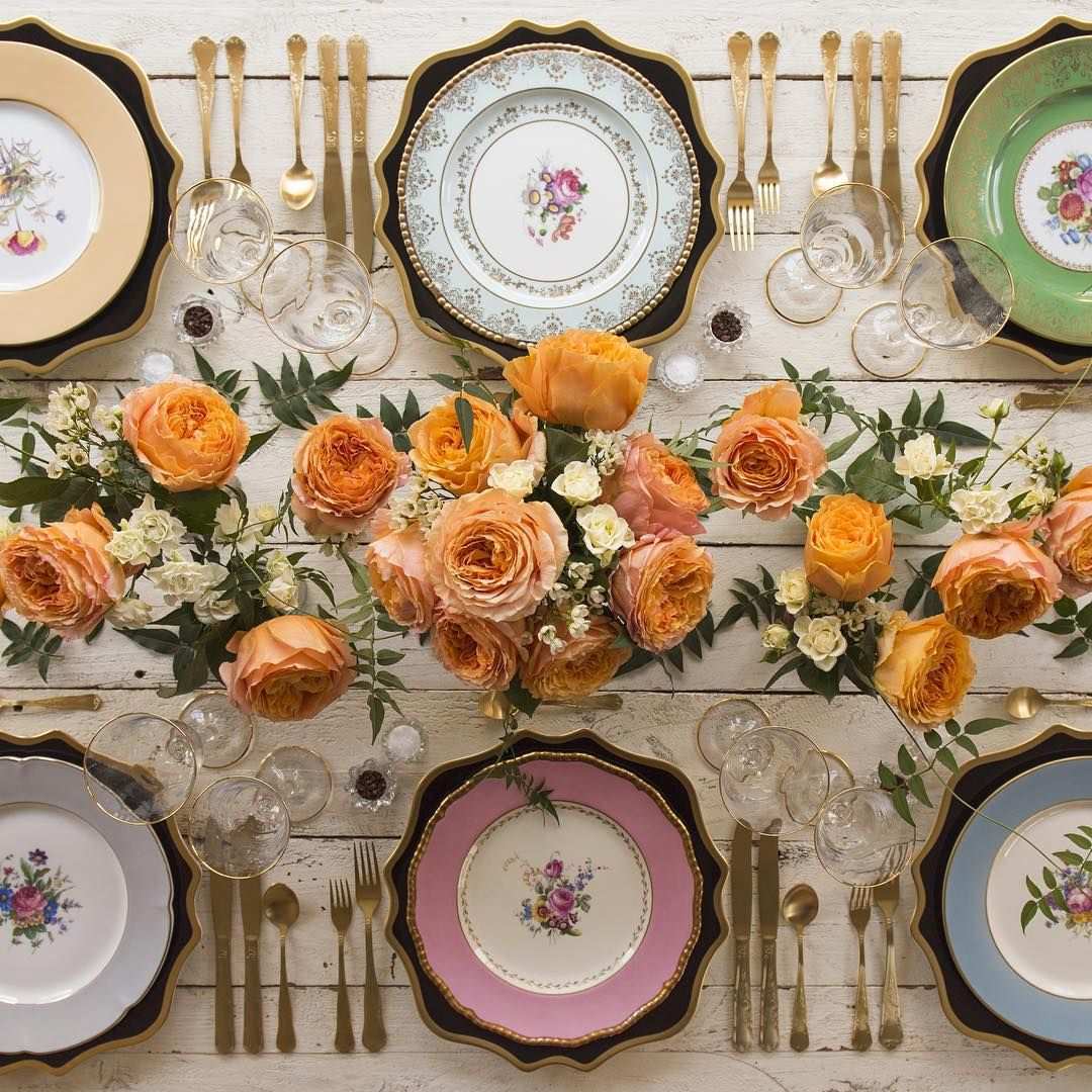 Anna Weatherley Chargers in Black/Gold + The Botanicals Collection Vintage China + Gold Chateau Flatware + Gold Rimmed Stemware + Antique Crystal Salt Cellars | Casa de Perrin Design Presentation
