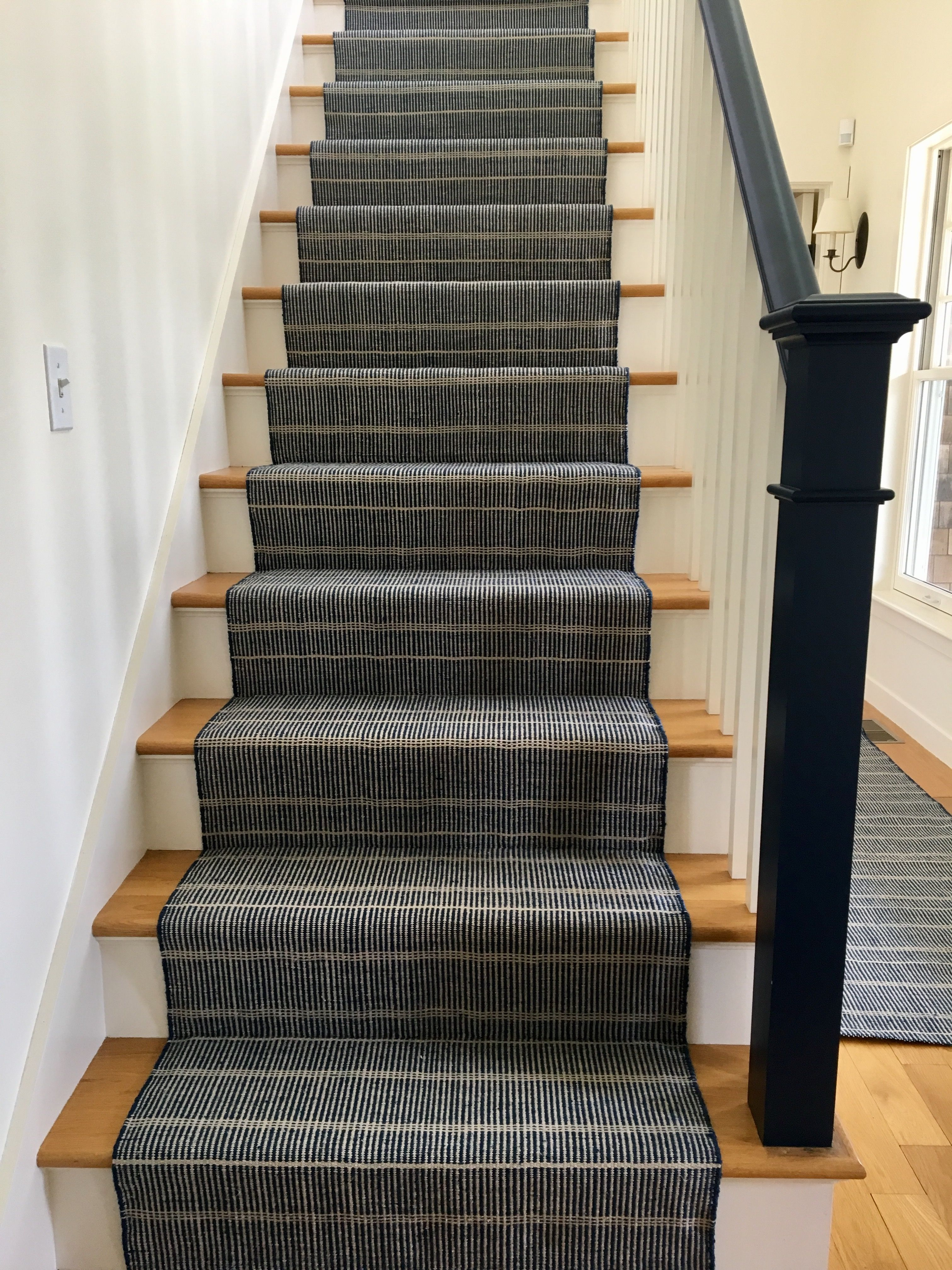 Dash And Albert Stair Runner With Painted Blue Handrail