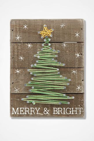 Merry and Bright String Art #weihnachtenholz