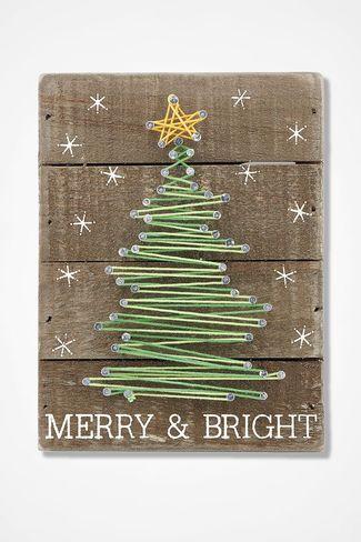Merry and Bright String Art #weihnachtenholz