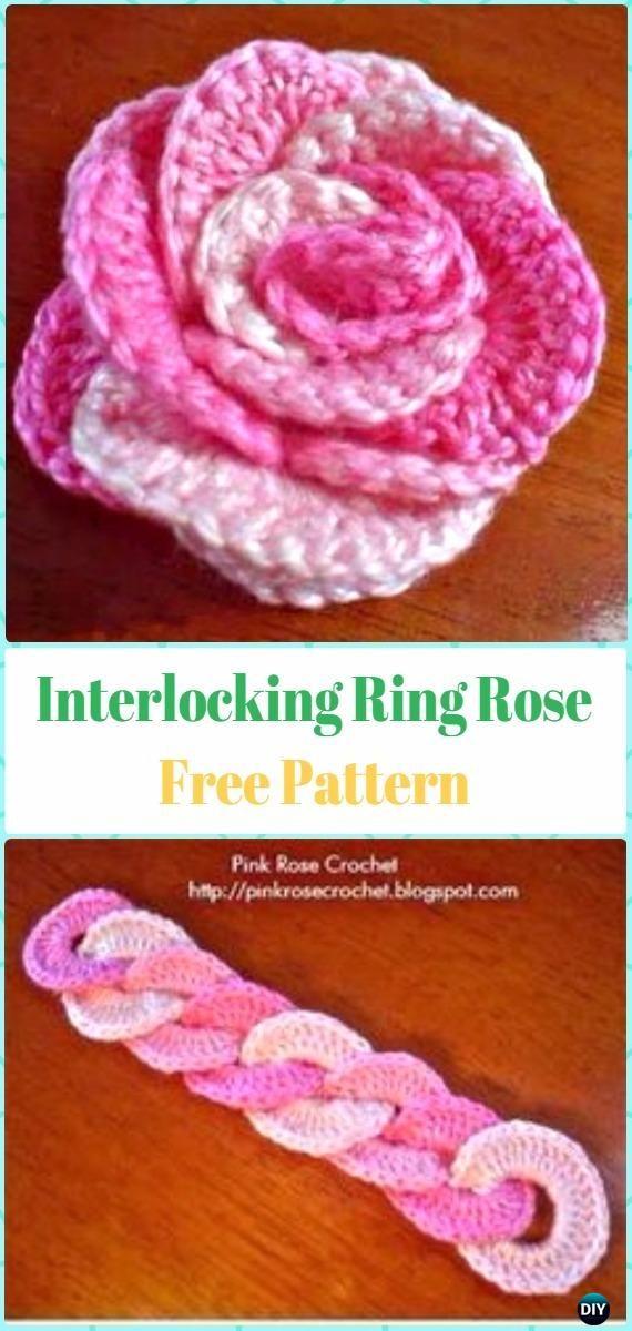 Crochet 3D Interlocking Ring Rose Flower Free Pattern   Häkelblumen ...