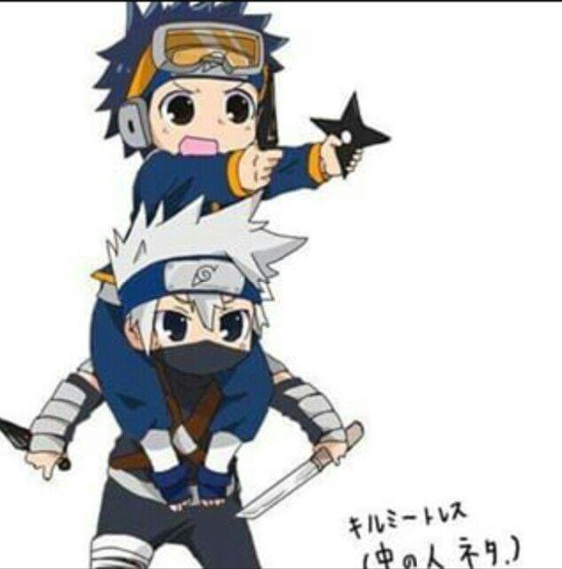 Obito, Kakashi, Young, Childhood, Cute, Kids; Naruto