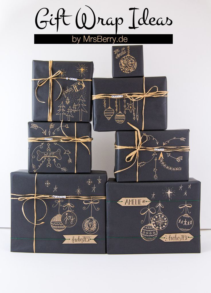 geschenke sch n verpacken mit kraftpapier deko. Black Bedroom Furniture Sets. Home Design Ideas
