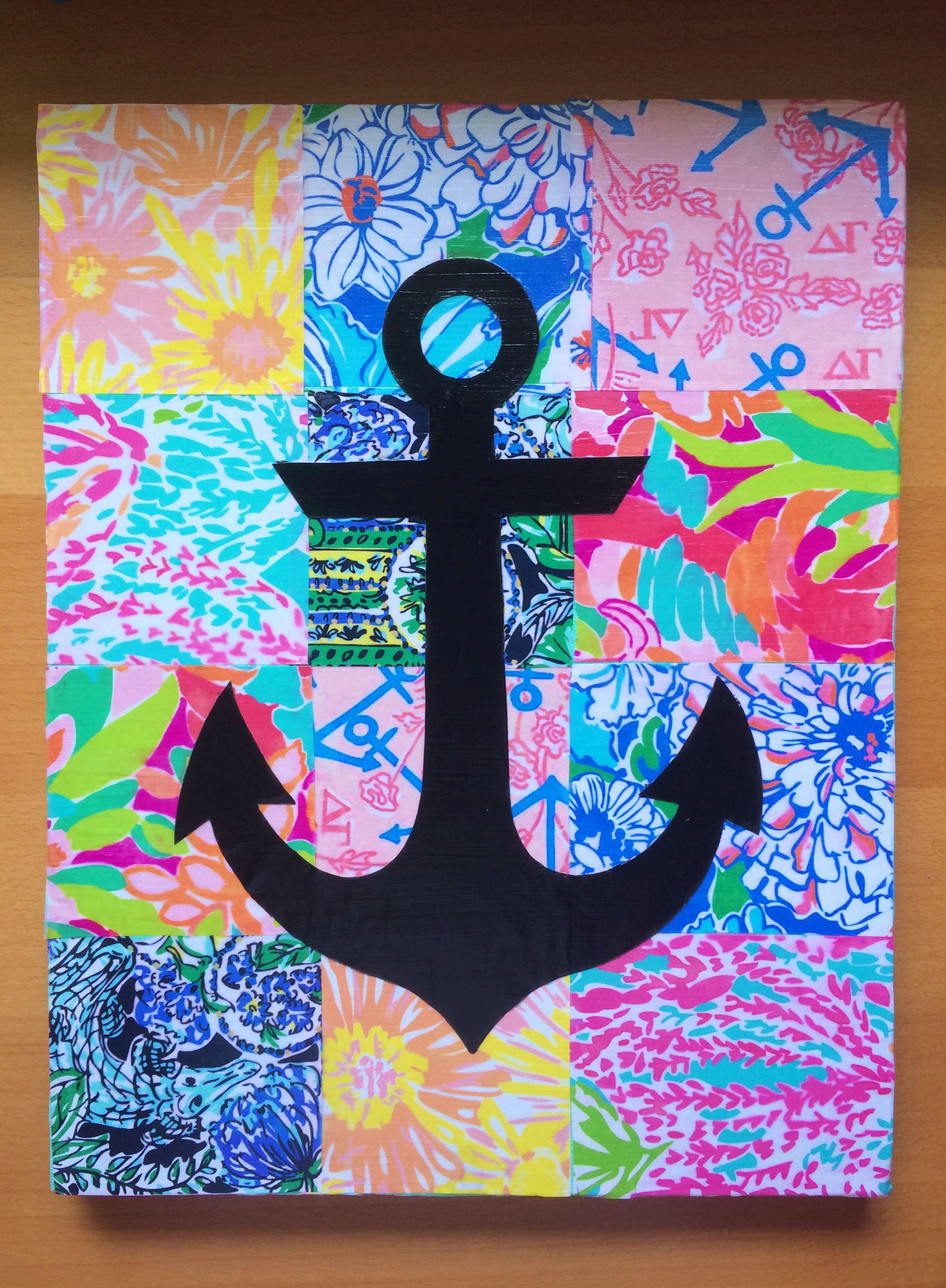 Delta Gamma Anchor Lilly Canvas Cute Pinterest Toiles Patron