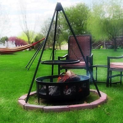 Fire Pit Tripod 19 In Grill Portable Steel Cooking Stand Grate Outdoor Firepit Fire Pit Cooking Camping Fire Pit Fire Pit Grill