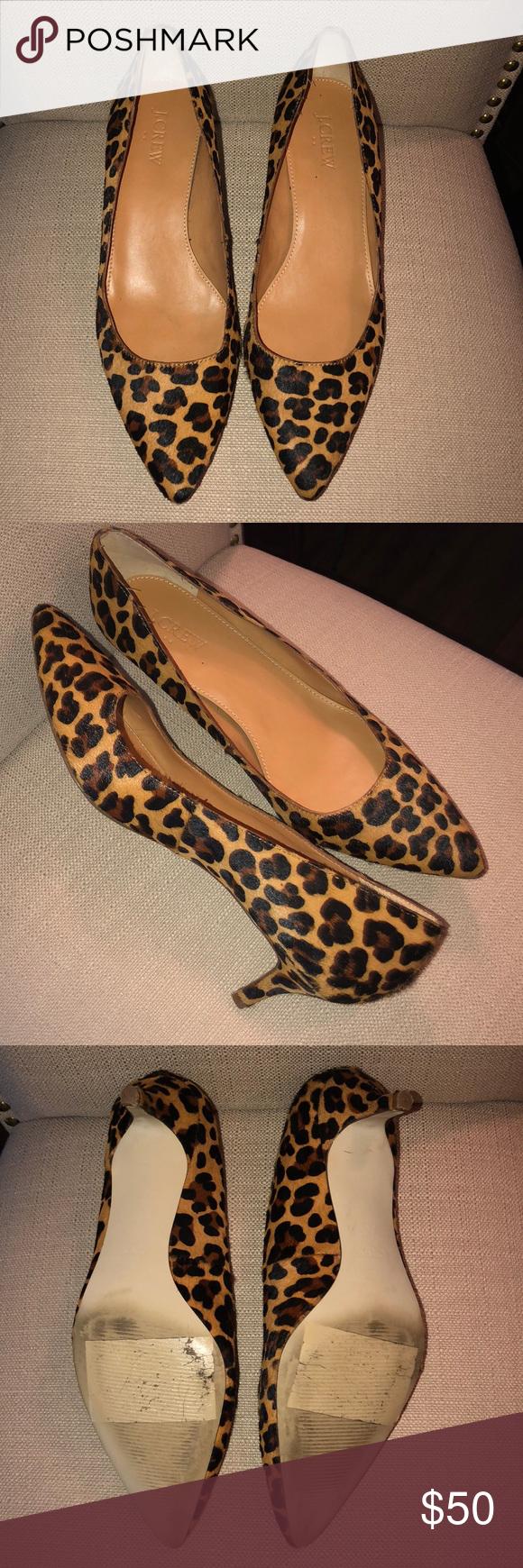 8bfa0fa2922a JCrew Leopard Kitten Heel Size 8.5 JCrew calf hair leopard print kitten heel.  Great with skirts