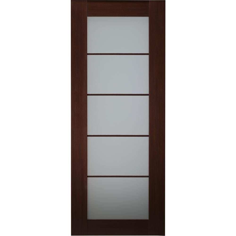 Belldinni 36 In X 80 In Mia Wenge Finished Solid Core Wood 5 Lite Frosted Glass Interior Doo Frosted Glass Interior Doors Glass Doors Interior Doors Interior