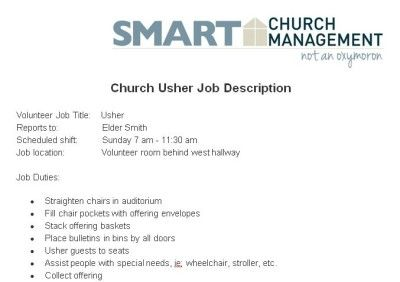 Church Usher Volunteer Job Description  Church Managment