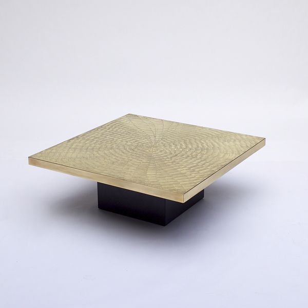 Rare 70's signed Georges Mathias coffee table with a laminate black base. These exclusive Belgium coffee tables where only limited made during the mid 70s till the early 80s. During this period Roger Vanhevel and George Mathias did stand for the etched artwork. A George Mathias coffee table can be founded back in the wriht20 auction archive under 'Circa 70' on 06 december 2005 lot nr 747.