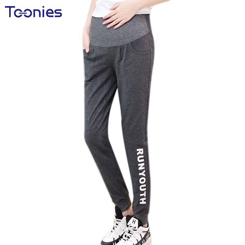 3a1baa3a3cd02 Fashion Maternity Sweatpants Black Gray Pregnancy Sports Pants 2017 Casual  Trousers for Pregnant Women Summer Maternity