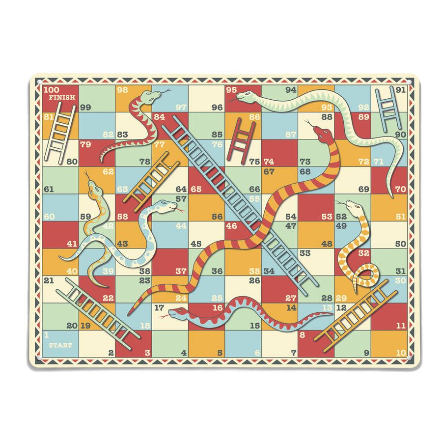 Snakes And Ladders Design Large Magnetic Notice Board