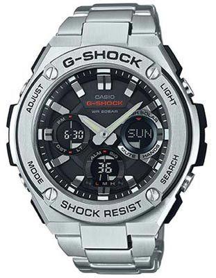 Casio Mens G-Shock G-Steel Solar Watch - Ana-Digi - Black Dial - Stainless Steel