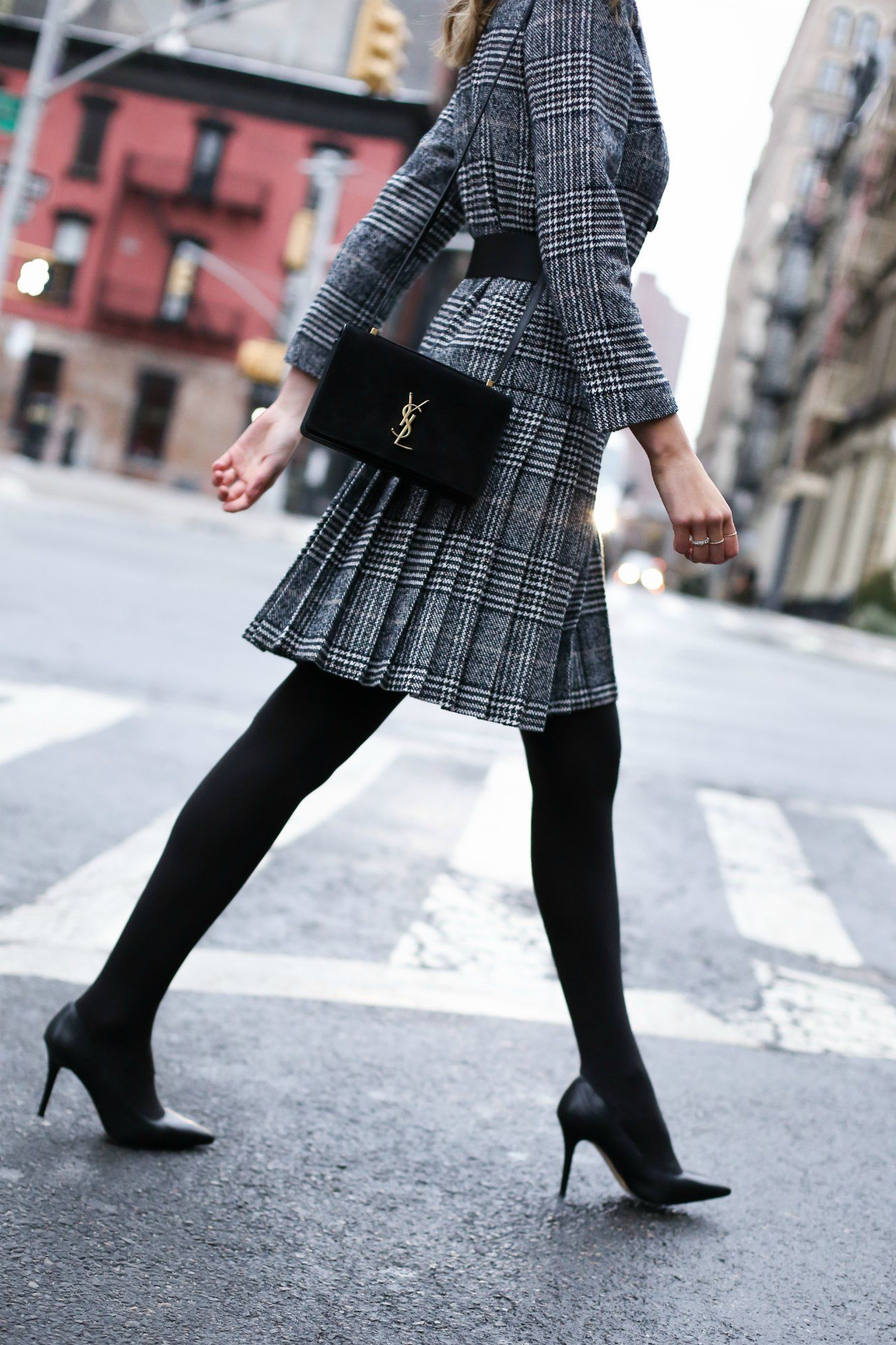 Classic Glen Plaid Pleated Suit Dress  Memorandum  Nyc Fashion