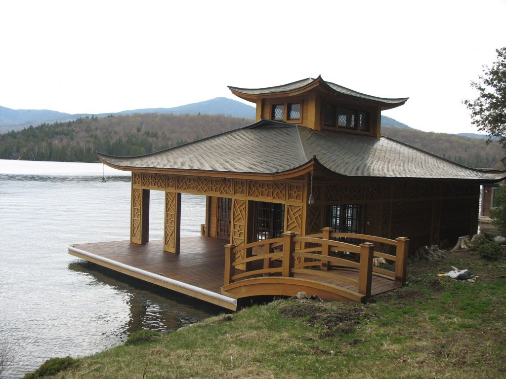 Japanese inspired boathouse what a lovely place to spend for Boat house plans pictures