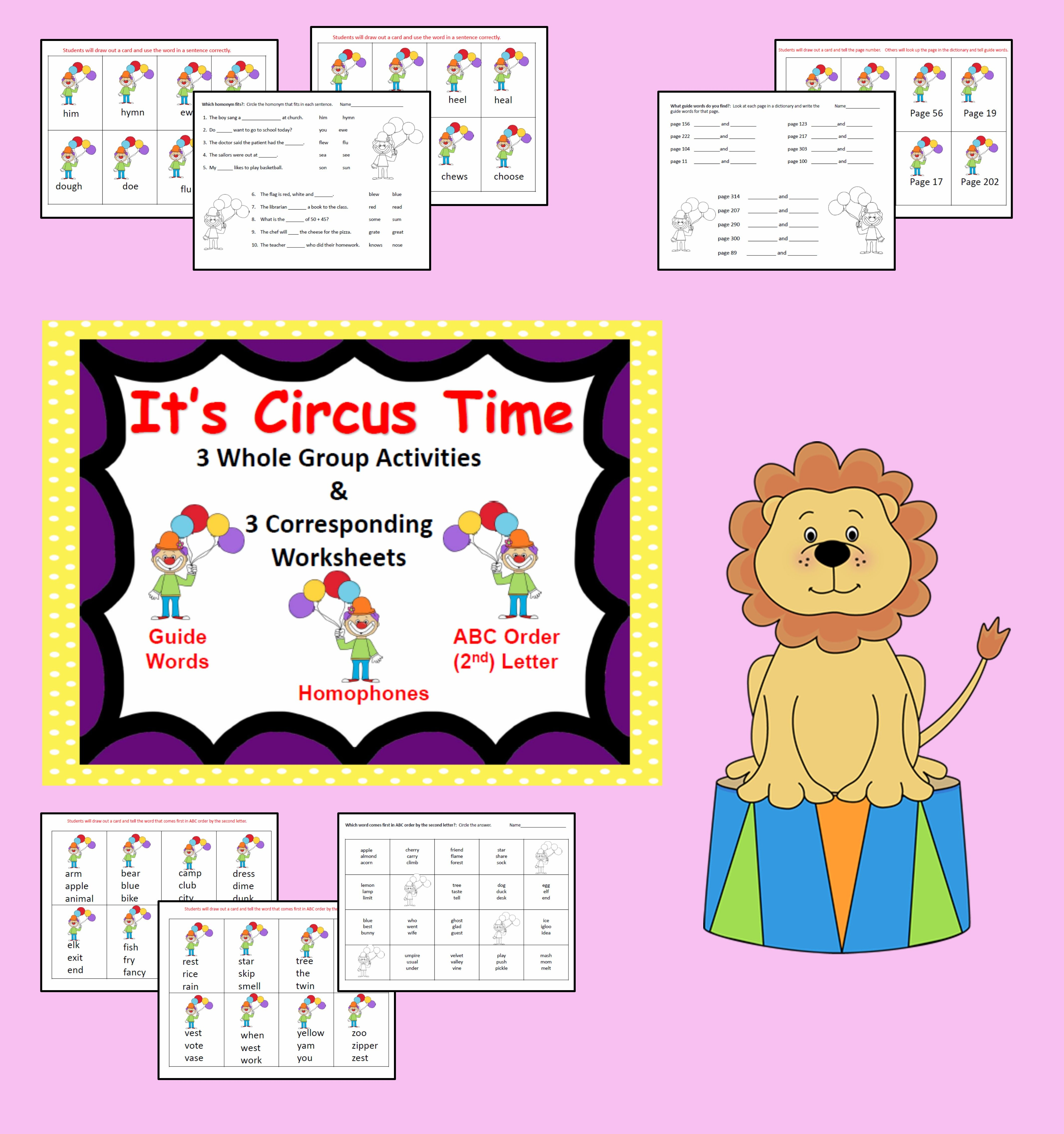 Reading Whole Group Activities Amp 3 Worksheets Circus