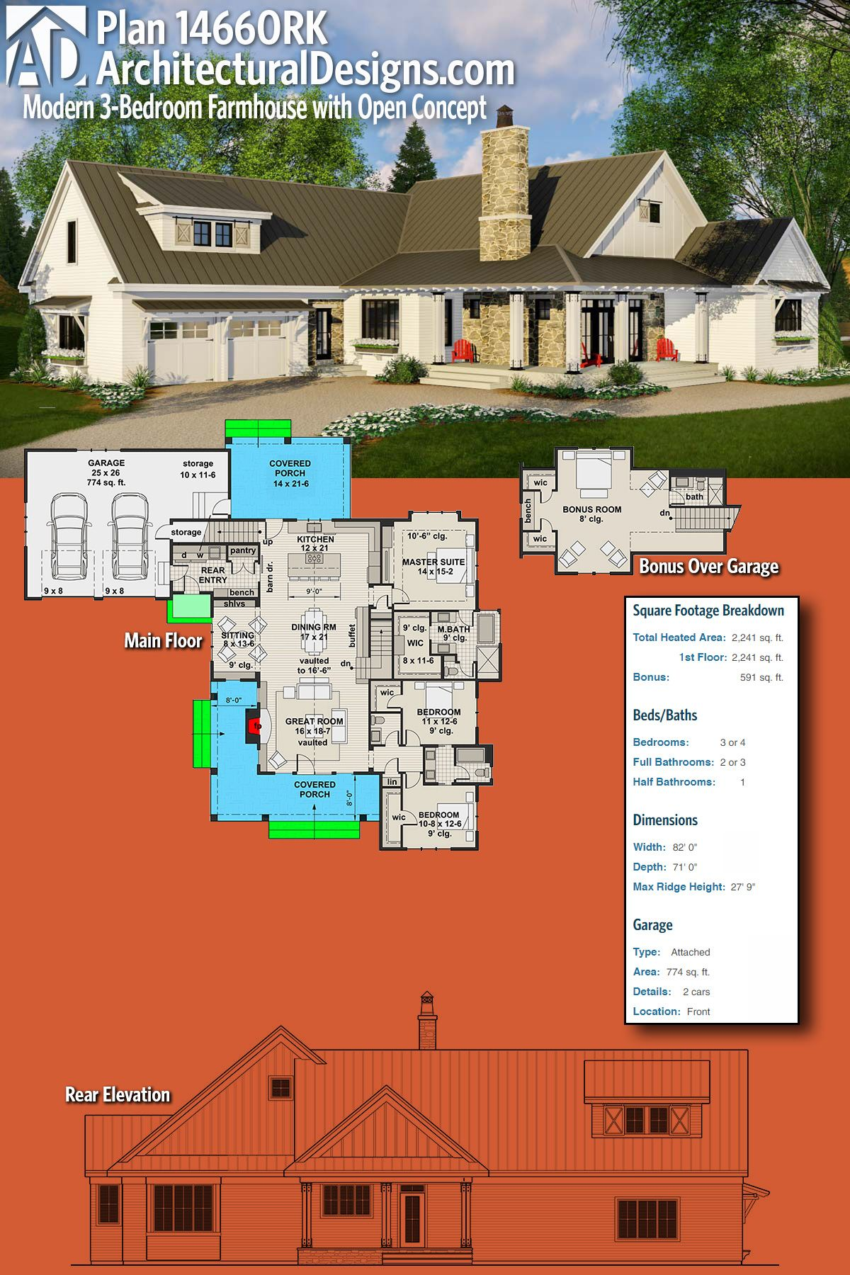 Architectural Designs Modern Farmhouse Plan 14460RK gives