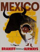 Braniff International Airways Original Travel Poster Mexico Bull 1960's