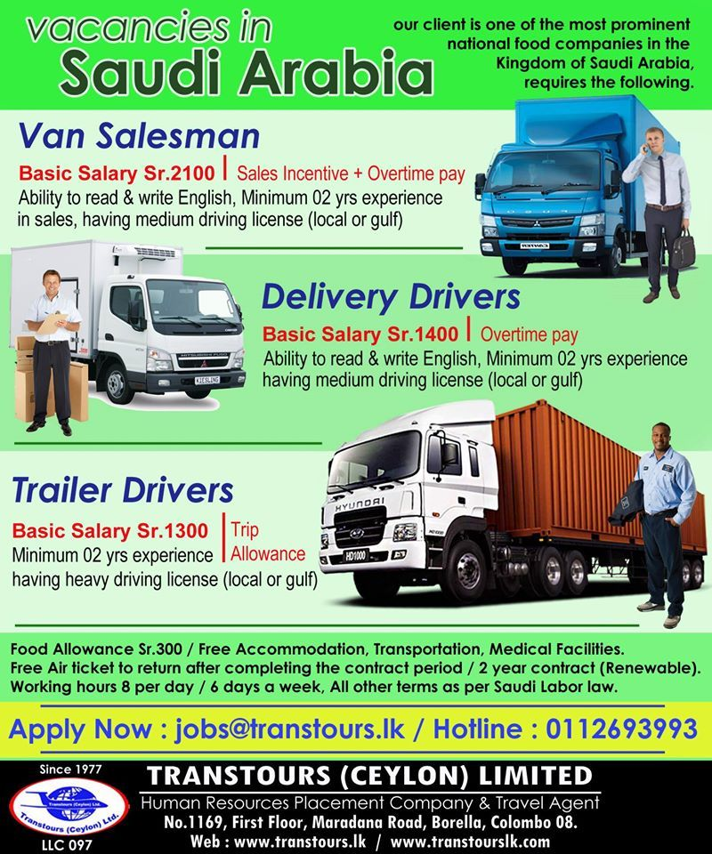 Van Salesman Delivery Drivers Tailer Drivers Apply Now Jobs Transtourslk Com Company Meals Salesman Reading Writing