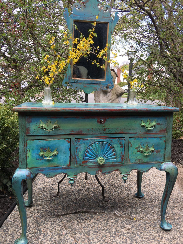 Vintage Painted Turqoise Sideboard Dressing Table Painted Sideboard Turqoise Chest Of