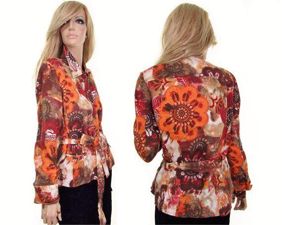 7573adc5d8f6ab HUCKE linen shirt wrap shirt floral linen blouse designer blouse ...